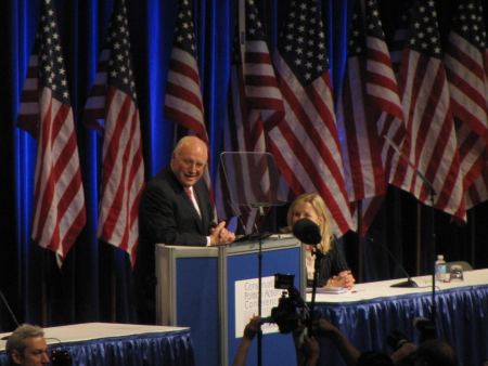 Dick Cheney and Liz Cheney: Pic shot from the blogger's row balcony