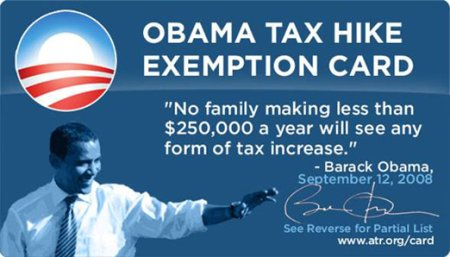 Obama tax hike exemption card