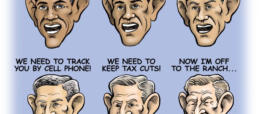 Cartoon: Who's Our President Again, Bush Or Obama?