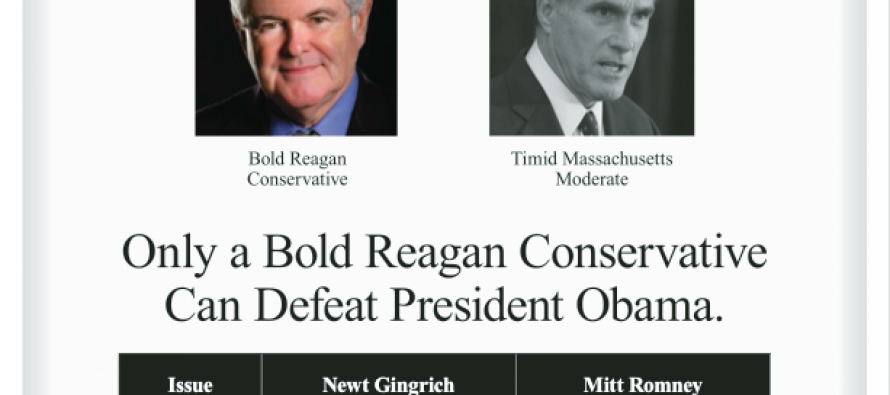 The Gloves Are Off: Newt Gingrich's Full Page Ad Hitting Mitt In New Hampshire