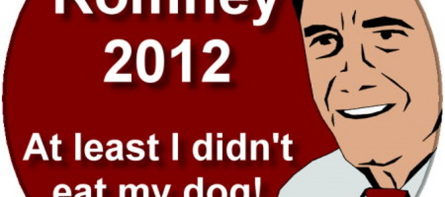 "My Very First Romney 2012 button ""At Least I Didn't Eat My Dog"" + a Bonus Obama Button"