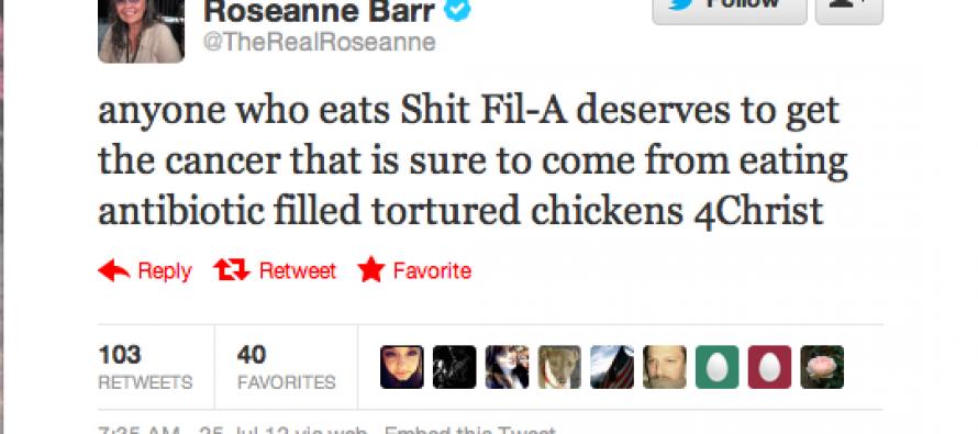 Roseanne Barr Goes Postal on Chick-fil-A