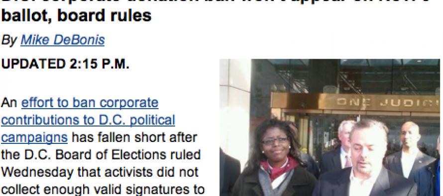 HA! D.C. Liberals Fail To Put Corporate Donations Ban on Ballot