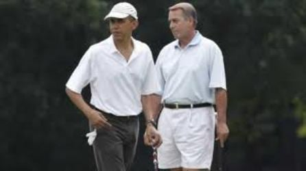 Barack Obama and John Boehner golfing