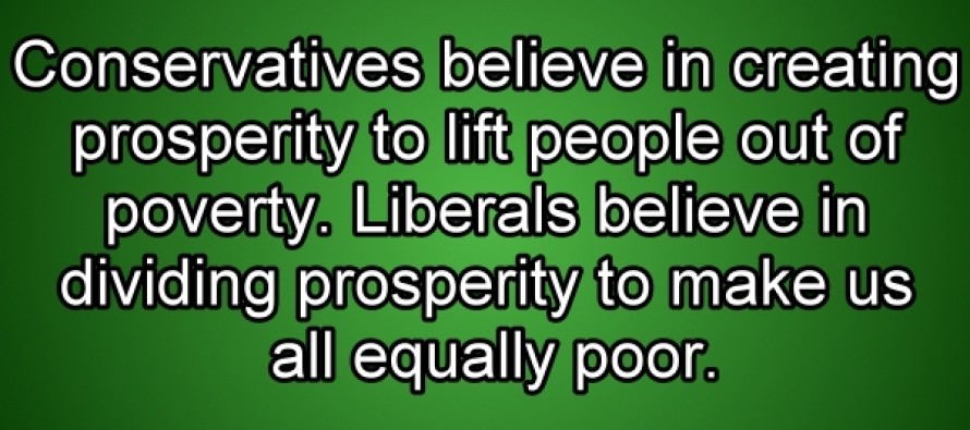 Liberals vs. Conservatives on Prosperity (Picture Quote)