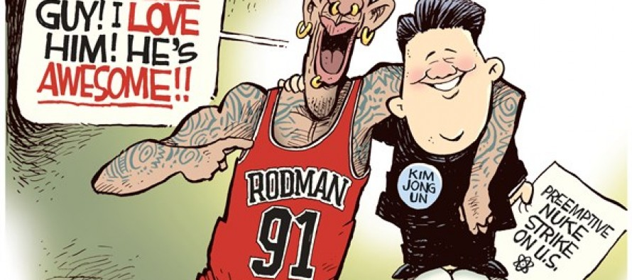 Dennis Rodman and Kim Jong Un (Cartoon)