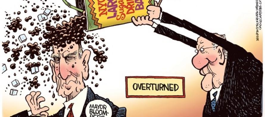 Large Drink Ban Overturned (Cartoon)
