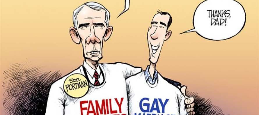 Portman Backs Gay Marriage (Cartoon)