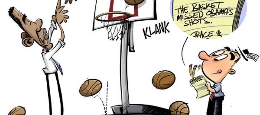 Obama shoots hoops (Cartoon)