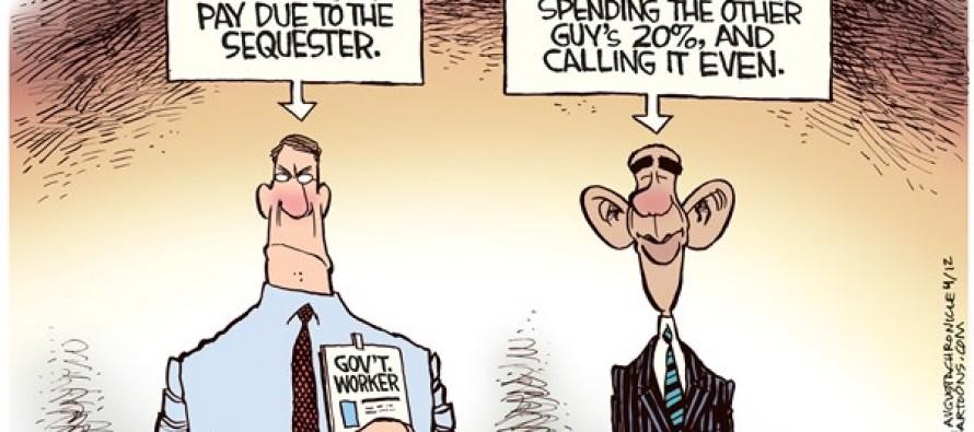 Sequester Pay Cut (Cartoon)