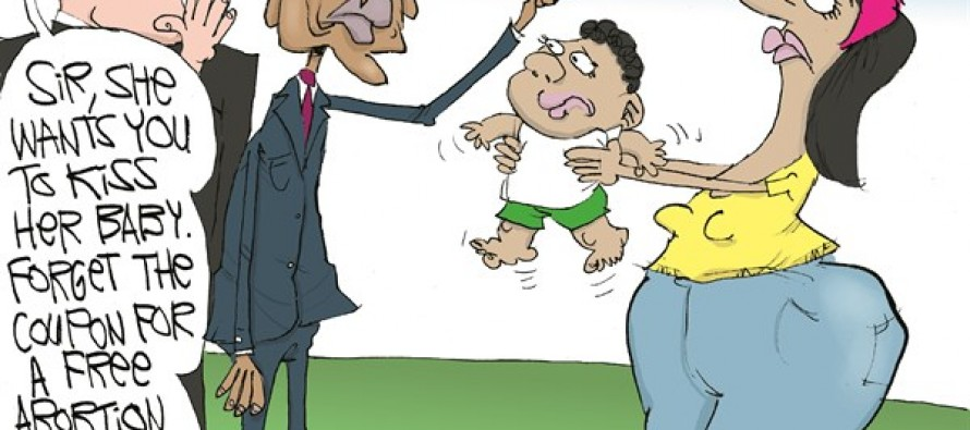 Obama Plugs Abortion (Cartoon)