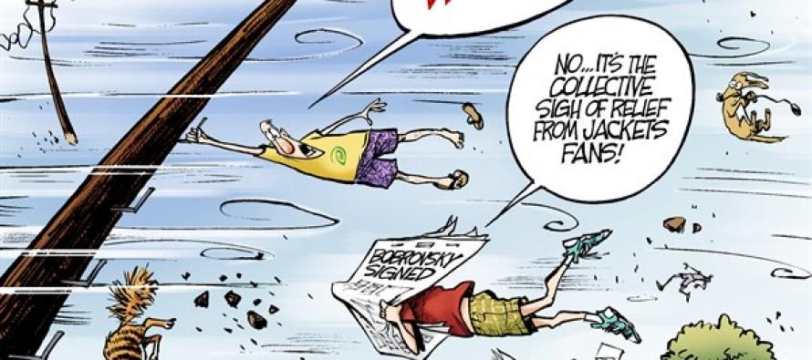 Blue Jackets Goalie Signs (Cartoon)