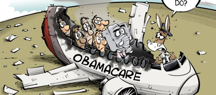Obamacare crash (Cartoon)