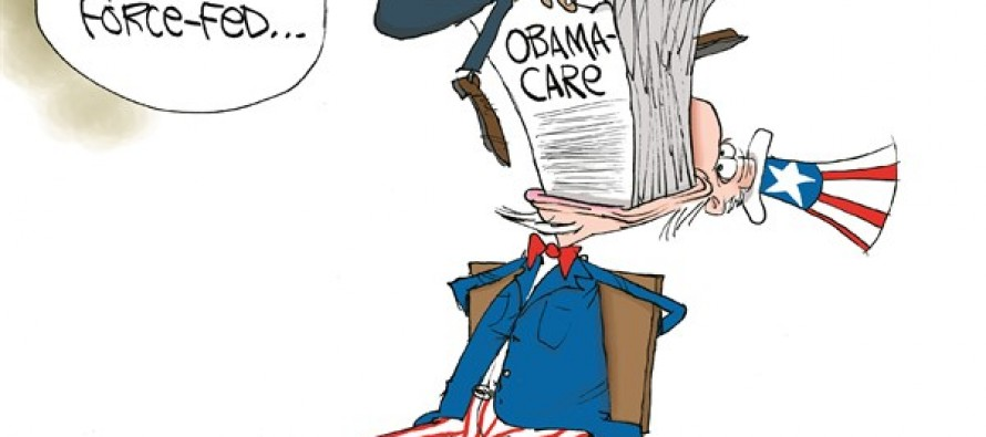 Force-Fed Obamacare (Cartoon)