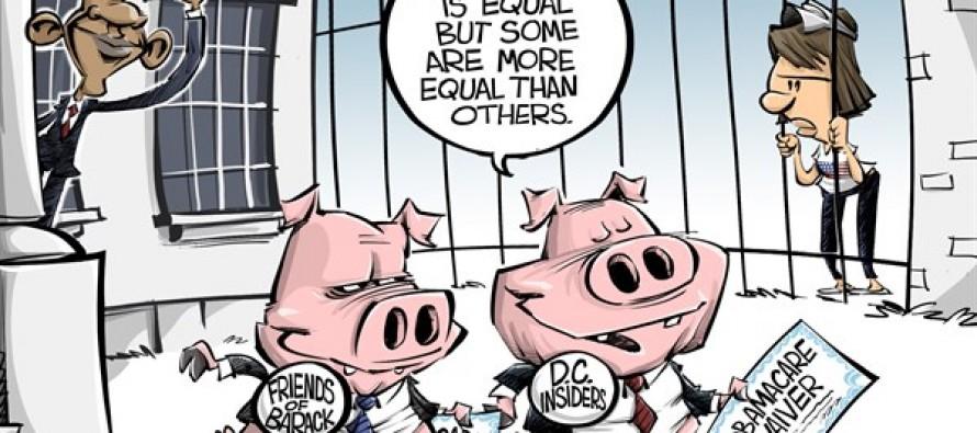 ObamaCare waivers (Cartoon)