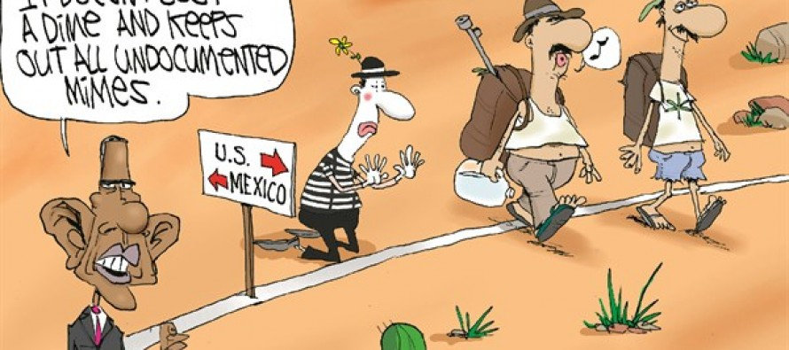Obama's Border Fence (Cartoon)