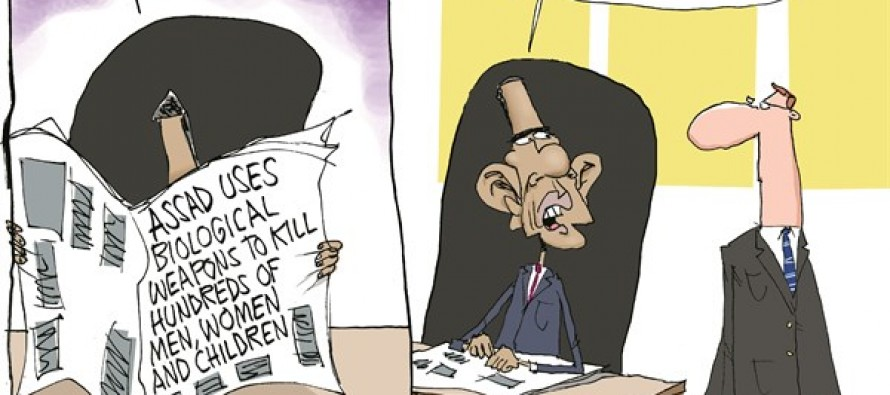 Obama Reacts to Syria (Cartoon)