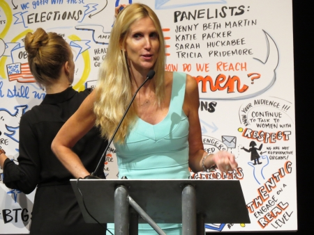Ann Coulter speaks with the artist draws behind her.