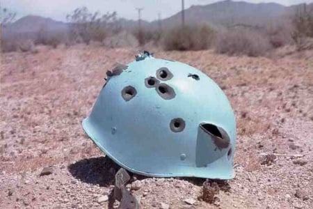 UN Helmet bullet holes