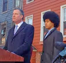 Bill de Blasio and his son Dante The Afro