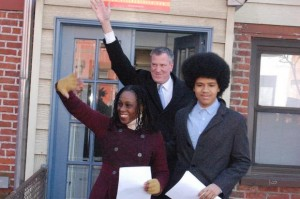 Bill de Blasio and his sons Afro