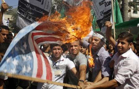 Palestinian flag burning
