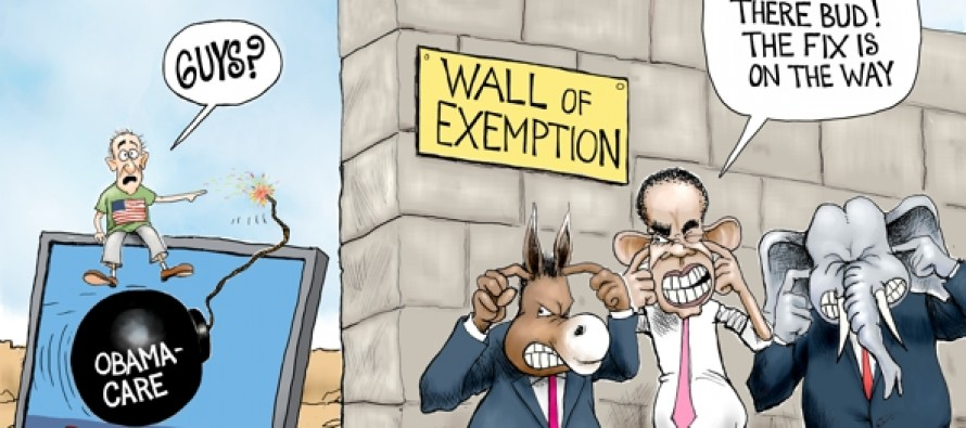 Politicians Exempt From Obama-care (Cartoon)