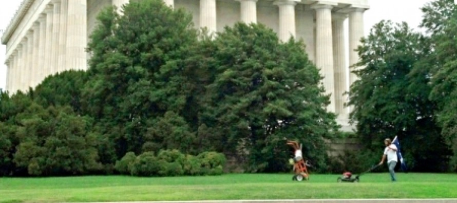 Civilian mows lawn at Lincoln Memorial: 'God bless that man'