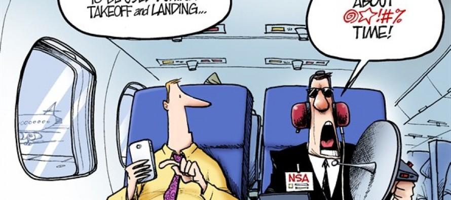 Electronics on Flights (Cartoon)