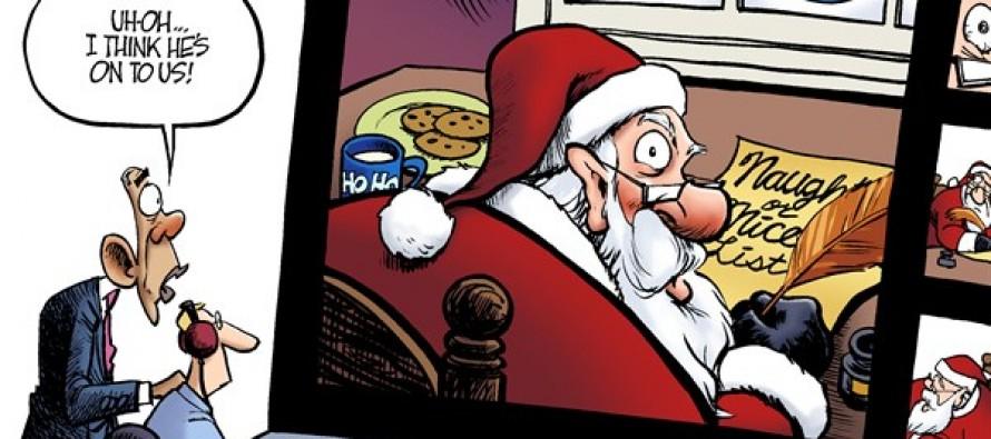 Santa Snooping (Cartoon)