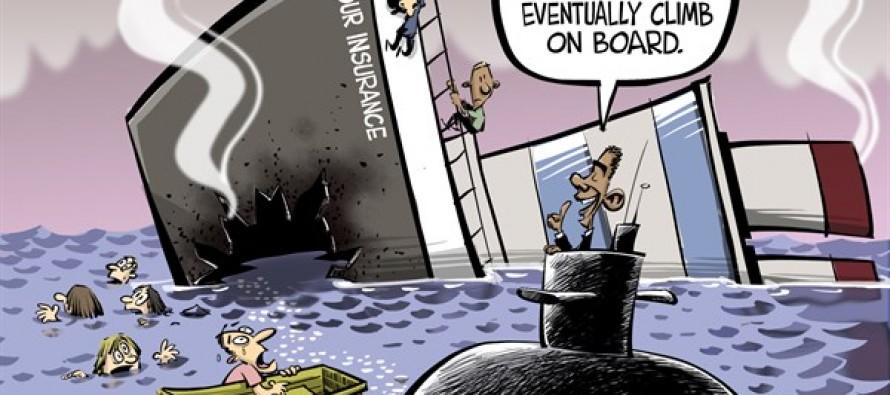 On board ObamaCare (Cartoon)