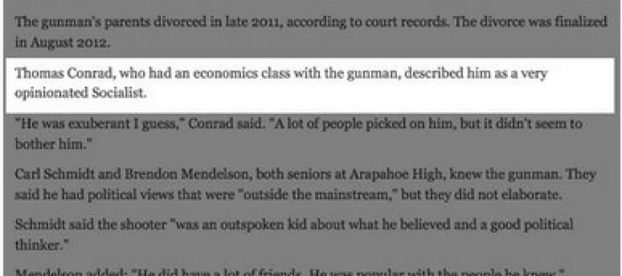 Denver Post Omits That Arapahoe High Shooter Was A Socialist