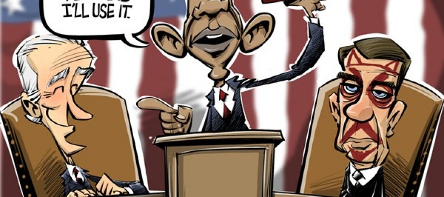 Obama uses his pen (Cartoon)