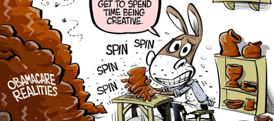 ObamaCare spin (Cartoon)