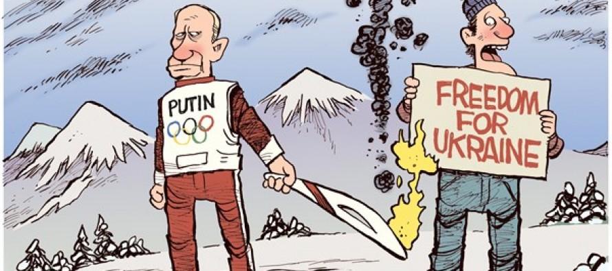 Putin Torches Ukraine (Cartoon)