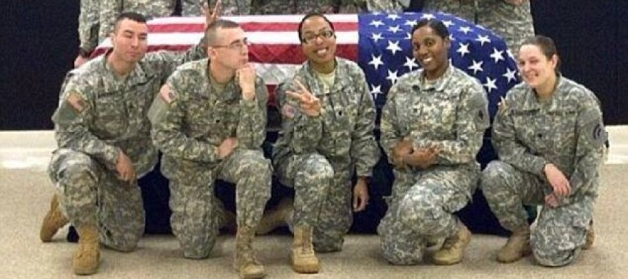 "Outrage at National ""Honor"" Guard troops who posed with coffin and threw hand signals to 'put the fun back in funeral'"