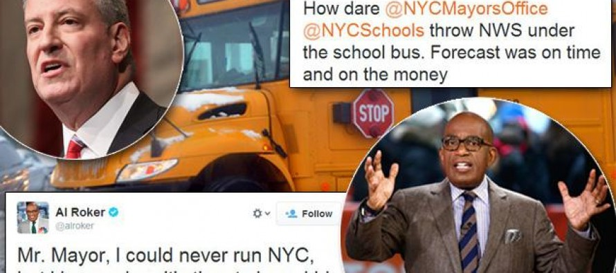 Al Roker slams de Blasio for not closing schools as storm drops up to a foot of snow; Mayor hits back with icy response