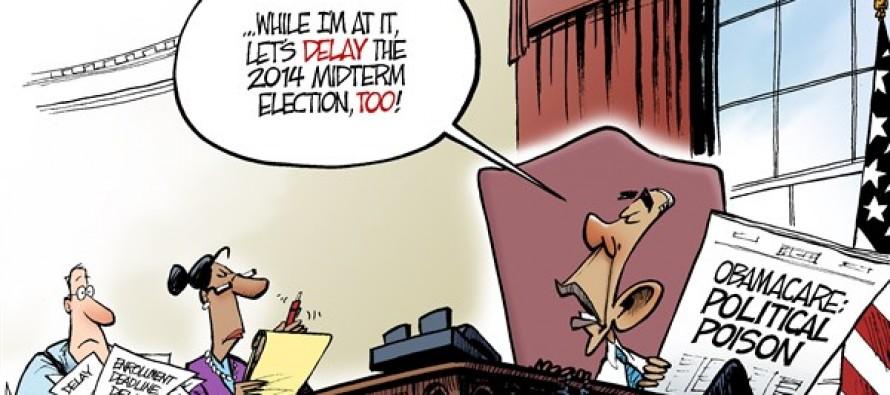 Obamacare Delay (Cartoon)