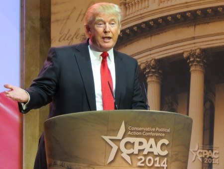 Donald Trump speaks from the main stage at CPAC.