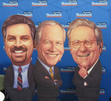 The Weekly Standard's Steven Hayes, Bill Kristol and Fred Barnes cut-outs in the exhibit hall.