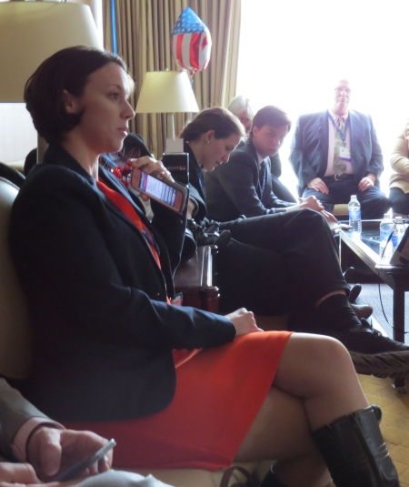 Breeanne Howe asks Reince Priebus a question at the National Blogger's Club luncheon.