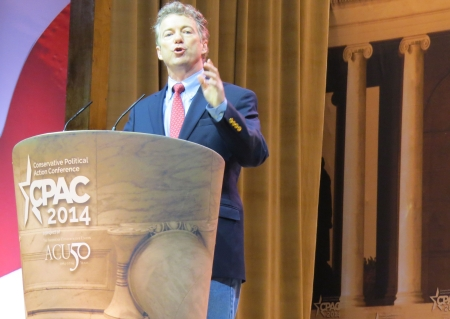 Rand Paul speaks from the main stage.