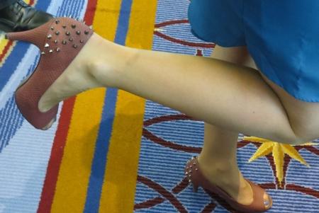 Alyssa Krumm shows off her spiked heels.