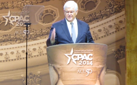 Newt Gingrich speaks from main stage
