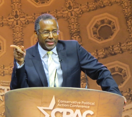 Ben Carson speaks from the main stage