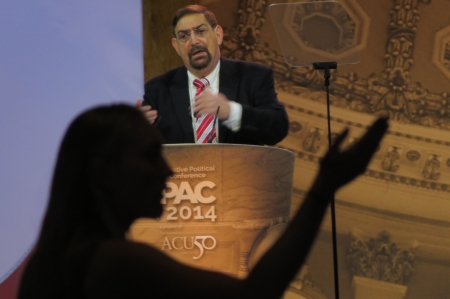 Pat Caddell speaks from the main stage
