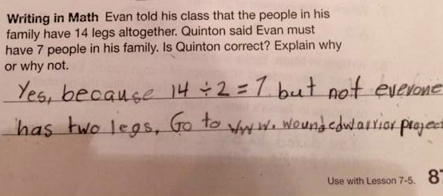 Nine-Year-Old's Awesome Answer On Math Test Reminds Teacher To Remember Wounded Warriors