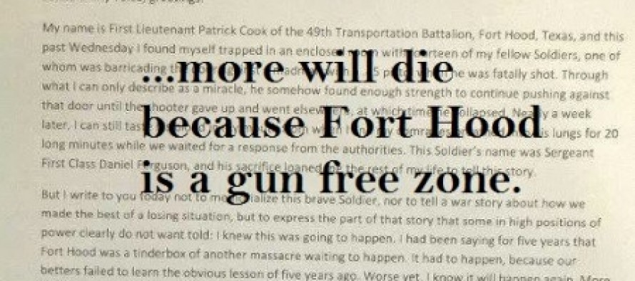 Powerful Letter of Fort Hood Solider Penned Asking for His 'God-Given Right' to Arm Himself on Base [READ]