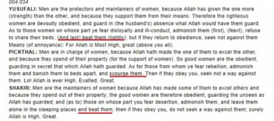 Sharia Law says it's okay to 'beat' your wife 'lightly'