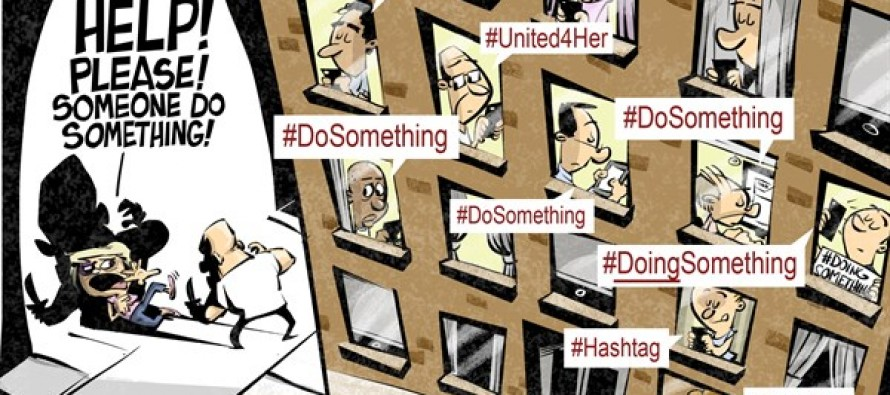 Hashtag activism (Cartoon)